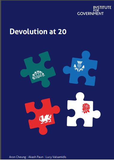 The book cover of Devolution at 20 The Institute for Government